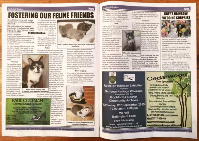 Cats Protection article in this month's Rayleigh Review.